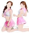 Pink schoolgirl cosplay outfit (skirt, bra, thong)